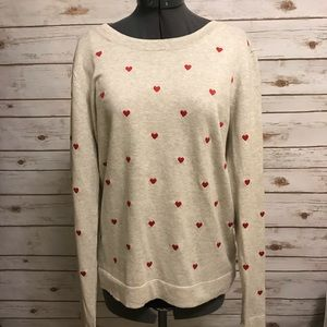 J Crew Factory Teddie hearts sweater large NWT
